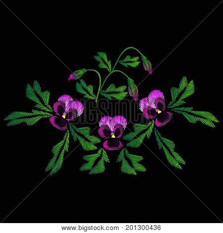Embroidery of jeans. Smooth. Lilac flowers Pansies with buds. Flower pattern. Traditional folk ornament. Vector illustration on a black background.