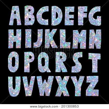 Hand made blue glitter sparkling font . Vector illustration