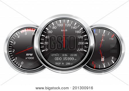 Dashboard. Black round gauges with chrome frame. Vector illustration isolated on white background