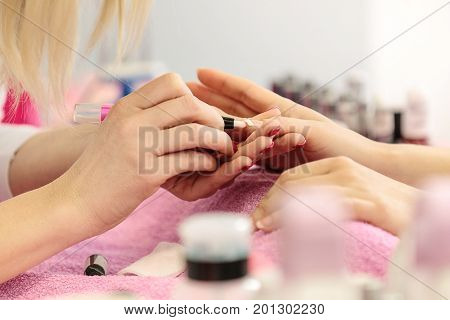 Nail Polish Remover. Manisure Treatment. Close Up.
