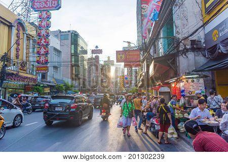 Bangkok, Thailand - July 03, 2017: Night market for vendors on Chinatown (Yaowarat) Road, the main street in Chinatown, a Bangkok landmark and important street for food