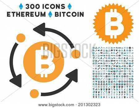Bitcoin Rotation Arrows pictograph with 300 blockchain, bitcoin, ethereum, smart contract design elements. Vector illustration style is flat iconic symbols.