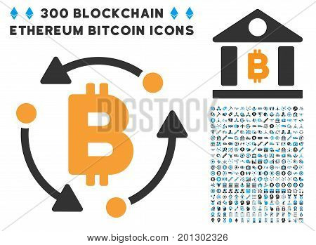 Bitcoin Rotation icon with 300 blockchain, bitcoin, ethereum, smart contract symbols. Vector icon set style is flat iconic symbols.