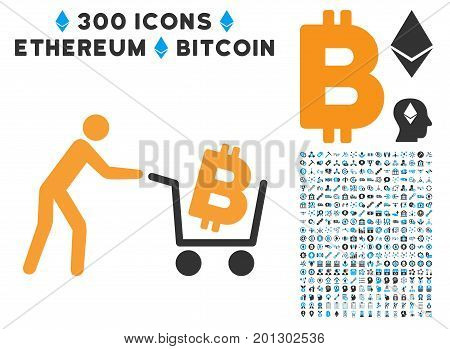 Bitcoin Shopping Cart icon with 300 blockchain, cryptocurrency, ethereum, smart contract images. Vector pictograph collection style is flat iconic symbols.