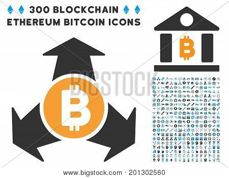 Bitcoin Spend Arrows icon with 300 blockchain, cryptocurrency, ethereum, smart contract symbols. Vector pictograph collection style is flat iconic symbols.