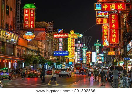 Bangkok, Thailand - July 03, 2017: Night market for vendors on Chinatown (Yaowarat) Road, the main street in Chinatown, a Bangkok landmark and important street for food