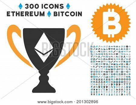 Ethereum Award Cup pictograph with 300 blockchain, bitcoin, ethereum, smart contract graphic icons. Vector pictograph collection style is flat iconic symbols.