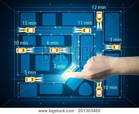Top view of abstract taxi cab car map with estimated arrival time and hand choosing the quickest one. Geolocation fastest route concept