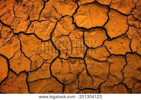 Dried mud in desert parched earth dirt representing climate change and drought
