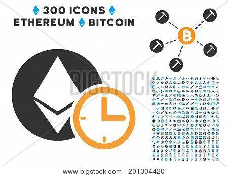 Ethereum Credit Time icon with 300 blockchain, bitcoin, ethereum, smart contract pictograms. Vector clip art style is flat iconic symbols.