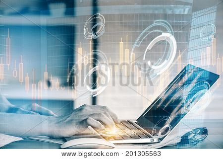Side view and close up of woman hands using laptop with glowing forex hologram at office workplace with city background. Trade concept. Double exposure