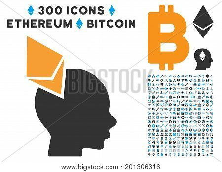 Ethereum Penetrated Head icon with 300 blockchain, cryptocurrency, ethereum, smart contract graphic icons. Vector icon set style is flat iconic symbols.