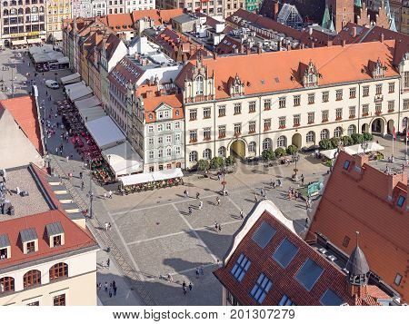 WROCLAW POLAND - AUGUST 14 2017: Aerial View of Rynek Market Square In Wroclaw