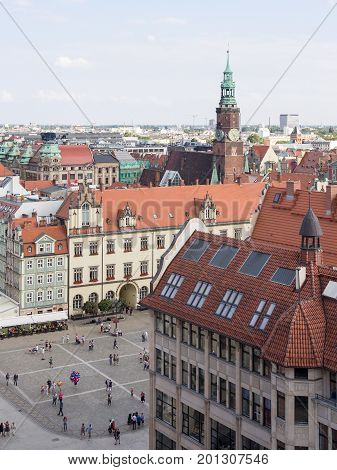 WROCLAW POLAND - AUGUST 14 2017: View of Rynek Market Square In Wroclaw