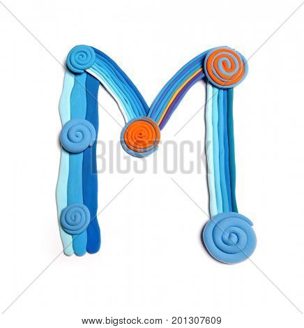 Plasticine letter M. Color plasticine alphabet, isolated. Blue and orange color of the alphabet