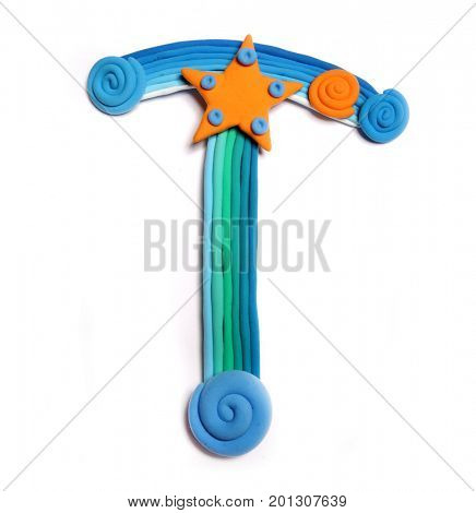Plasticine letter T. Color plasticine alphabet, isolated. Blue and orange color of the alphabet