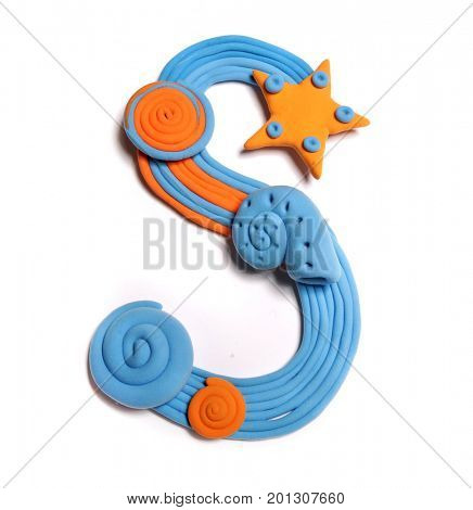Plasticine letter S. Color plasticine alphabet, isolated. Blue and orange color of the alphabet