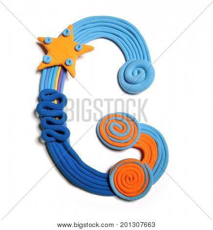 Plasticine letter G. Color plasticine alphabet, isolated. Blue and orange color of the alphabet