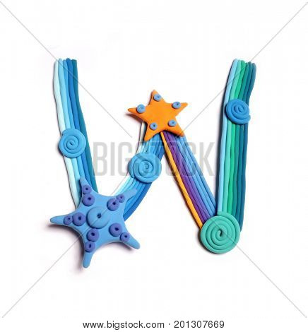 Plasticine letter W. Color plasticine alphabet, isolated. Blue and orange color of the alphabet
