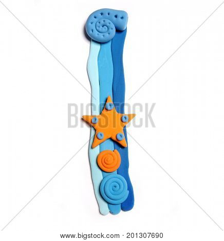 Plasticine letter I. Color plasticine alphabet, isolated. Blue and orange color of the alphabet