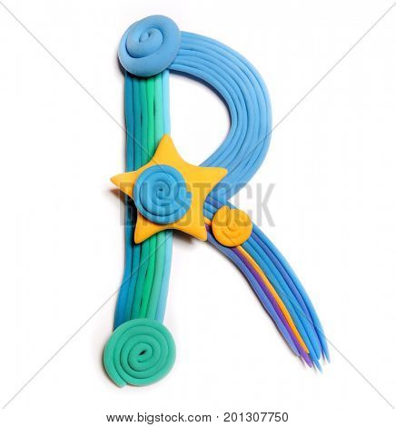 Plasticine letter R. Color plasticine alphabet, isolated. Blue and orange color of the alphabet