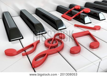 3d render of piano keys and notes