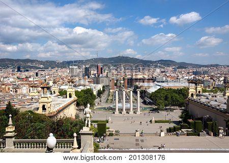 Barcelona Spain - July 28 2016: Montjuic columns and fountain on Plaza de Espana in Barcelona Spain.