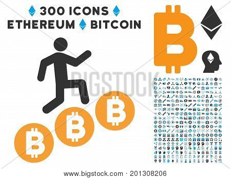 Person Climb Bitcoins icon with 300 blockchain, cryptocurrency, ethereum, smart contract symbols. Vector icon set style is flat iconic symbols.