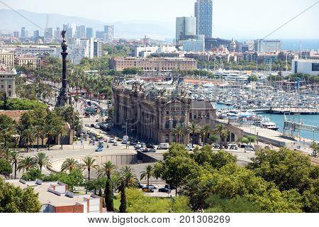 Barcelona Spain - July 28 2016: Building Customs in the port of Barcelona Spain.