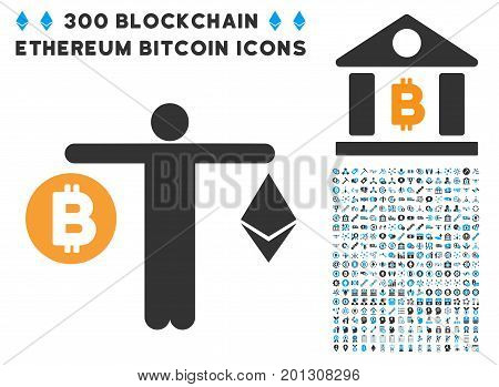 Person Compare Cryptocurrency pictograph with 300 blockchain, cryptocurrency, ethereum, smart contract pictures. Vector icon set style is flat iconic symbols.