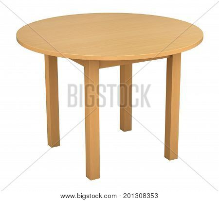 3d render of wooden table isolated over white background