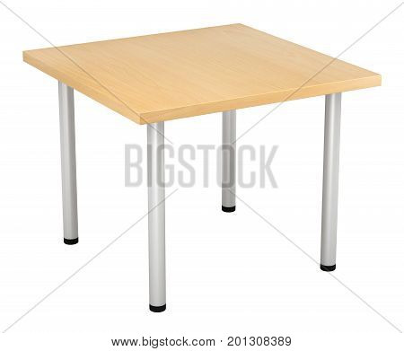 3d render of wooden table with metal legs isolated over white background