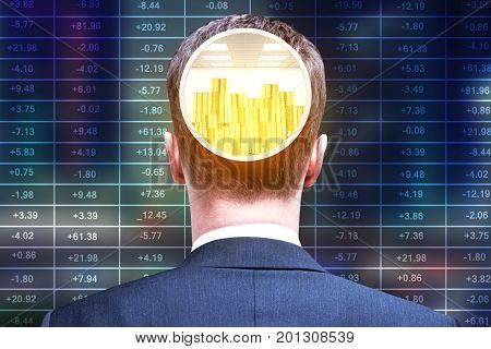 Back view of bank vault head businessman on forex index background. Money concept