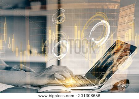 Side view and close up of woman hands using laptop with glowing forex hologram at office workplace with city background. Finance concept. Double exposure
