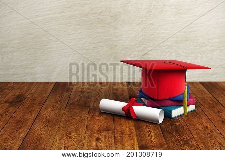 Red mortarboard book and diploma placed on wooden surface and concrete wall background. Graduation concept. 3D Rendering