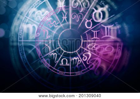 Zodial sign horoscope cirlce on dark background. Creative background. Symbol concept. 3D Rendering