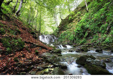 Mountain river near the town of Teteven Balkan Mountains Bulgaria