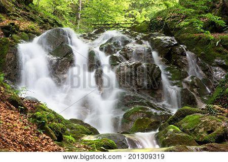 Mountain waterfall near the town of Teteven Balkan Mountains Bulgaria