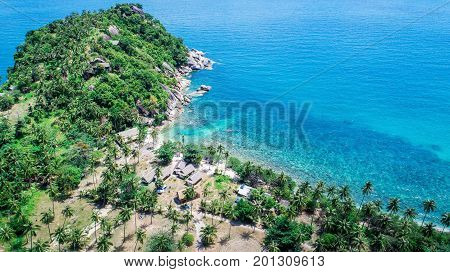 Aerial view of an island with green palms