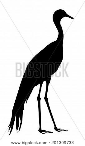 Vector illustration of blue crane silhouette  on white background