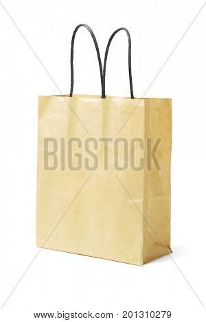 Paper Bag With Black Paper Handle on White Background