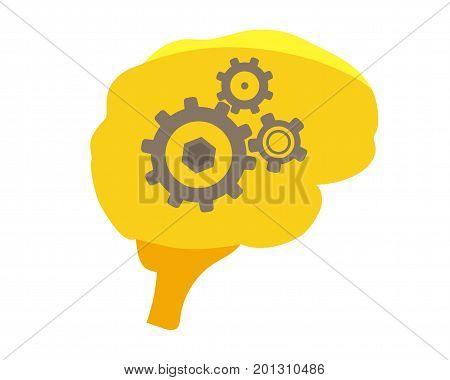 Human brain isolate illustration. Human brain Icon
