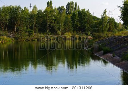 Pond chiller of the Chernobyl nuclear power plant. Dead radioactive zone. Consequences of the Chernobyl nuclear disaster August 2017