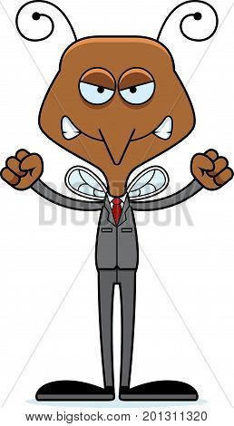 Cartoon Angry Businessperson Mosquito