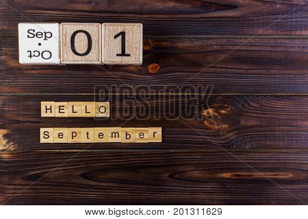 1st September. Image of september 1 calendar on wooden background. Back to school concept. Hello September word.