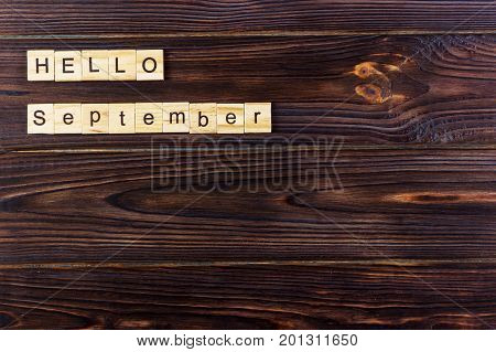 September Hello word. Wooden cubes with Hello September