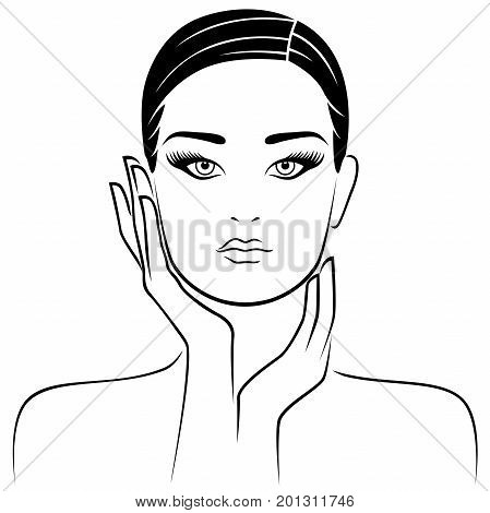 Female head with careful hands lifestyle concept vector illustration