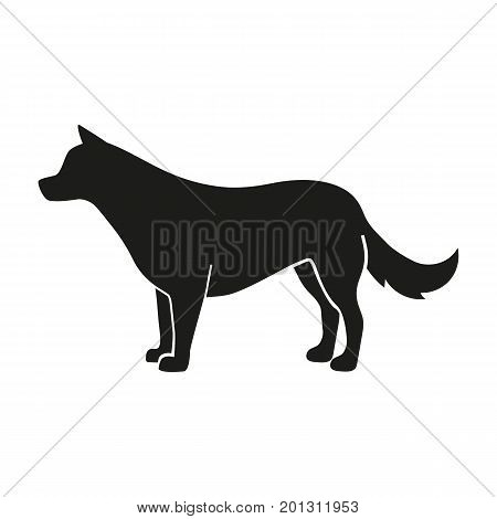 Icon of dog silhouette. Companion, pet, pedigree. Domestic animal concept. Can be used for topics like hunting, veterinary, breeding