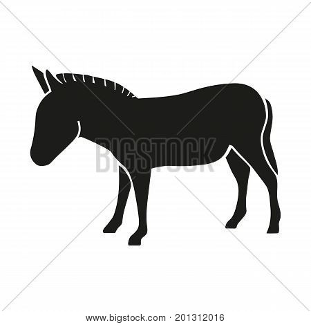 Icon of donkey silhouette. Mule, stubbornness, countryside. Domestic animal concept. Can be used for topics like livestock, farm, veterinary