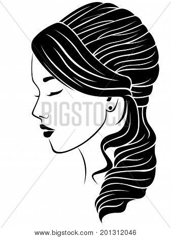 Dreamy girl with wavy hairdo vector illustration isolated on the white background